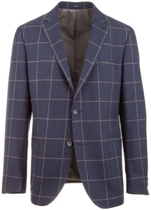 EDUARD DRESSLER Contrasting Check Jacket Mid Blue