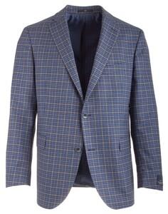 EDUARD DRESSLER James Shaped Fit Blue Fine Check Jacket Blue-Brown