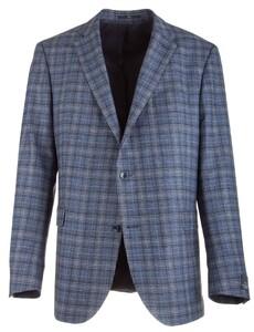EDUARD DRESSLER James Shaped Fit Silk Touch Check Colbert Blauw