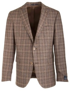 EDUARD DRESSLER James Shaped Fit Silk Touch Check Colbert Bruin