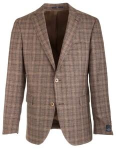 EDUARD DRESSLER James Shaped Fit Silk Touch Check Jacket Brown