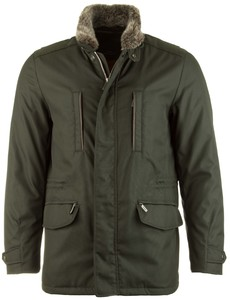 EDUARD DRESSLER Luxury Fur Coat Jack Donker Groen