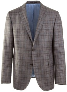 EDUARD DRESSLER Sean Blue-Grey Check Jacket Anthracite