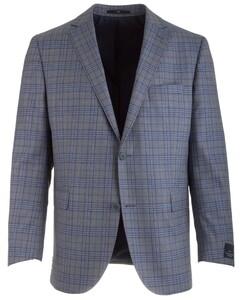 EDUARD DRESSLER Sean Shaped Fit Blue-Grey Check Jacket Blue-Grey