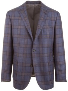 EDUARD DRESSLER Sendrik Double Check Jacket Mid Blue