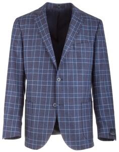 EDUARD DRESSLER Sendrik Shaped Fit Blue-Blue Check Colbert Blauw