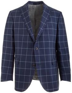 EDUARD DRESSLER Shaped Fit Linen-Cotton Check Colbert Midden Blauw