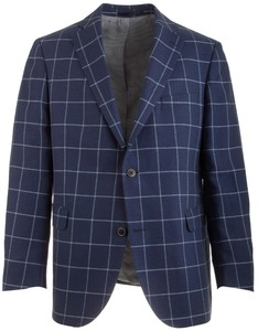 EDUARD DRESSLER Shaped Fit Linen-Cotton Check Jacket Mid Blue