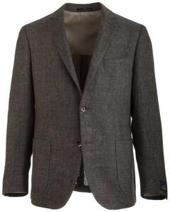 EDUARD DRESSLER Shaped Fit Linen Mix Shirt Jacket Colbert Donker Groen