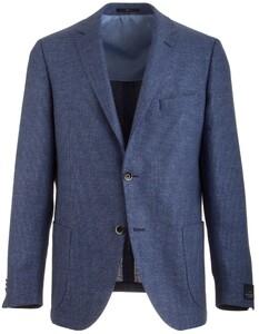 EDUARD DRESSLER Shaped Fit Linen Mix Shirt Jacket Colbert Midden Blauw