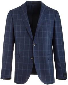 EDUARD DRESSLER Shaped Fit Luxury Silk Check Colbert Midden Blauw