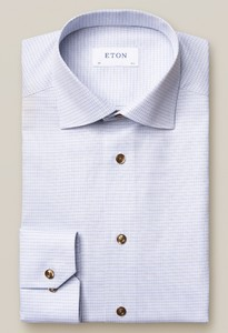 Eton Blue Micro Checks Signature Twill Shirt Overhemd Blauw-Zand