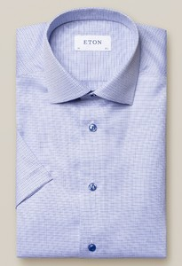Eton Blue Micro Checks Signature Twill Shirt Overhemd Midden Blauw