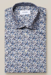 Eton Blue Stained Floral Signature Twill Shirt Overhemd Midden Blauw