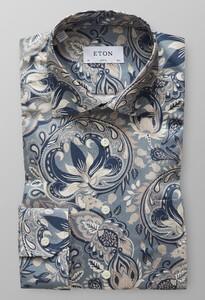 Eton Bold Paisley Signature Twill Overhemd Donker Blauw