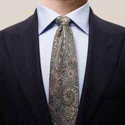 Eton Bold Paisley Tie Dark Green