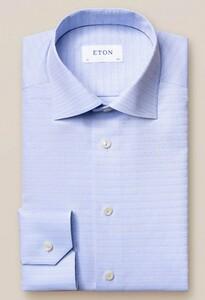 Eton Brocade Faux Uni Overhemd Licht Blauw
