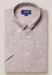 Eton Button Down Linnen Overhemd Bruin