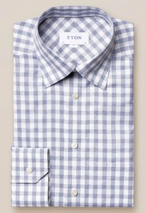 Eton Button Under Gingham Overhemd Blauw