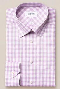 Eton Button Under Gingham Overhemd Paars