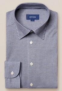 Eton Button Under Piqué Shirt Navy
