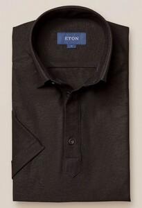 Eton Button Under Polo Shirt Polo Zwart Melange