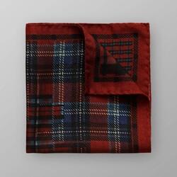 Eton Check Pattern Pochet Donker Rood