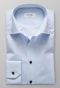 Eton Check Poplin Embroidery Overhemd Licht Blauw
