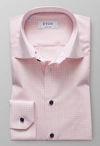 Eton Check Poplin Embroidery Overhemd Roze