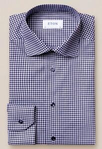 Eton Check Twill Contrast Button Overhemd Navy