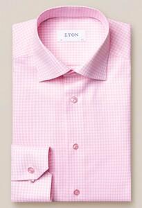 Eton Check Twill Contrast Button Overhemd Roze