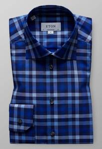Eton Check Twill Overhemd Blauw