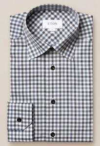 Eton Checked Button Under Overhemd Blauw