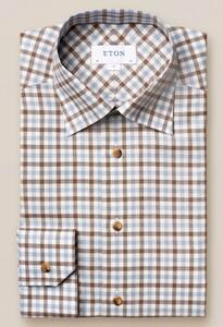 Eton Checked Button Under Overhemd Bruin-Blauw