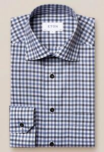 Eton Checked Cutaway Lightweight Flanel Overhemd Blauw