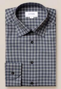 Eton Checked Lightweight Flanel Overhemd Blauw