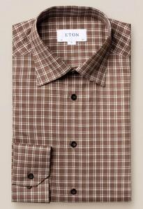Eton Checked Lightweight Flanel Overhemd Bruin