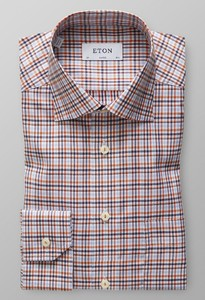 Eton Checked Signature Twill Cotton Tencel Overhemd Licht Oranje Melange