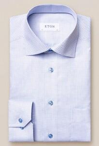 Eton Classic Twill Check Overhemd Licht Blauw