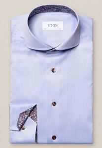 Eton Contrast Button Paisley Detail Overhemd Licht Blauw