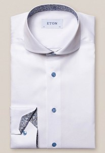 Eton Contrast Button Paisley Detail Overhemd Wit