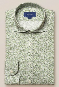 Eton Cotton Tencel Fine Floral Overhemd Groen