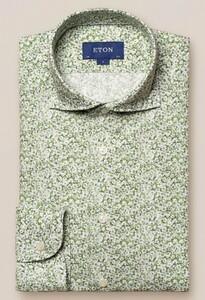 Eton Cotton Tencel Fine Floral Shirt Green