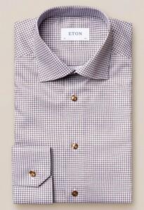 Eton Cutaway Signature Twill Micro Flower Overhemd Beige