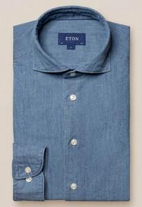 Eton Denim Extreme Cutaway Overhemd Licht Blauw