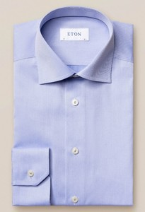 Eton Diagonal Fine Striped Twill Overhemd Blauw