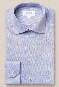 Eton Diamond Dobby Overhemd Dusty Blue