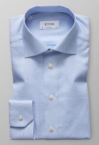 Eton Dobby Cotton-Tencel Overhemd Licht Blauw