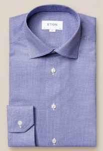 Eton Dobby Cutaway Overhemd Blauw