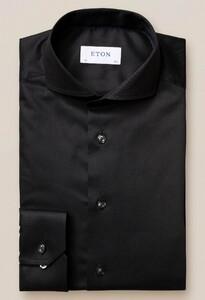 Eton Extreme Cutaway Twill Stretch Overhemd Zwart